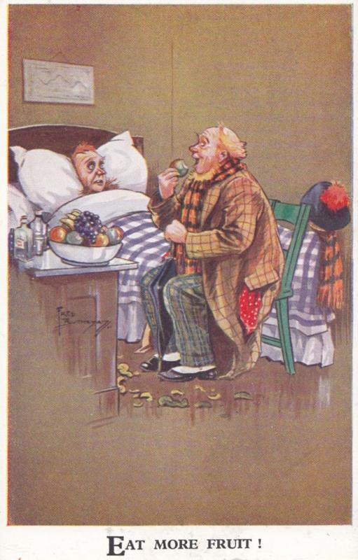 Defy Old Age Growing Old By Eating Healthy Fruit Comic Postcard