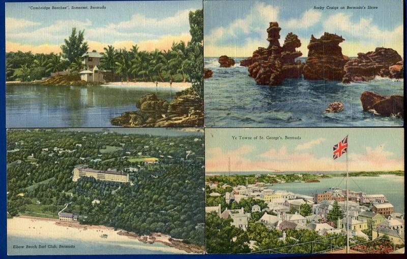 Lot of 4 Bermuda Cambridge Elbow Beach Surf Club Somerset St Georges postcards