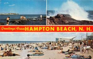 HAMPTON BEACH NEW HAMPSHIRE GREETINGS FROM-MULTI VIEW POSTCARD 1967 PSMK