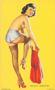 Pin-Up Girl Topless Getting Dressed Mutoscope Vintage Arcade Card AA1442