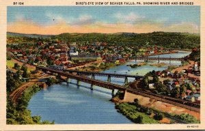 Pennsylvania Beaver Falls Birds Eye View Showing River and Bridges Curteich