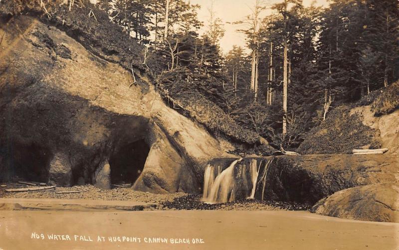 Cannon Beach Oregon No 9 Waterfall At Hugpoint Rppc Real Photo Postcard