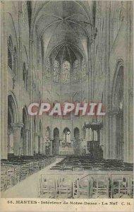 Old Postcard Mantes Interior Notre Dame La Nef