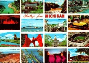 Michigan Greetings With Tiger Stadium Mackinac Island Soo Locks GM Institute ...