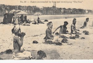 Fakirs surrounded by fires & worshipping the Sun , India , 00-10s