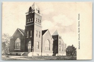 Smith Centre Kansas~Methodist Church~Stained Glass Windows~Houses Behind~1908