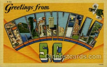 Greenville, SC, South Carolina, USA Large Letter Towns  Postcard Postcards  G...
