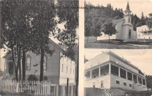 Drain Oregon~The Perkins Hotel~Our Two Churches~Trees Shade it~1910 B&W Postcard