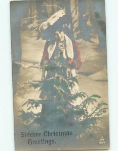 Old rppc WOMAN - WOMEN - FEMALE Great Postcard AB1622