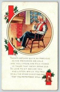 Christmas~Grandpa Smokes Pipe Before Fireplace~Rich Memories~Emboss~Whitney Made