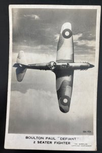 Mint England RPPC Postcard RAF Fighter Airplane Boulton Paul Defiant 2 Seater N