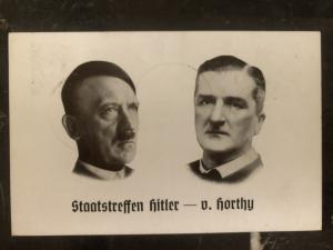 1940 Kiel Germany RPPC Postcard cover State meeting Hitler & Horthy