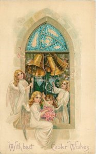 Easter~Arched Window~Angels Ring Gold Bells~Blue Pink Posies~Hearts~Emb~B W 305