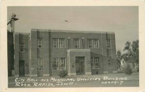 City Rapids Iowa City Hall Municipal Utilities Bldg 1948 RPPC Photo Postcard 385