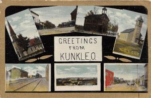 E17/ Kunkle Ohio Postcard 1912 Greetings 7View Railroad Depot Main St School
