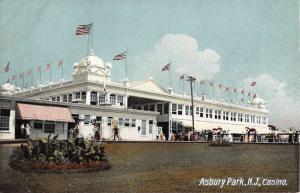 Asbury Park New Jersey Casino Street View Antique Postcard K69731