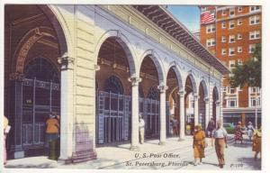 PC14 JLs postcard vintage u.s. post office st pete fl linen