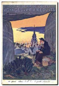 Old Postcard Train Railways of Britain & # 39Ouest Normandy Mont Saint Michel...