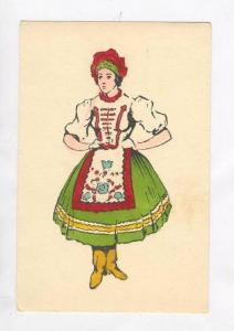 Hand Colored PC: Magyar Girl in Traditional Dress / Hungarian Nat'l Costume,H...