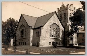 Arcola IL~Stone Construction~Presbyterian Church~Stained Glass Window~1914 RPPC