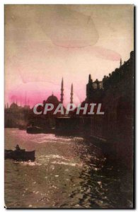 Old Postcard The Sunset on Istanbul's Yeni Jami Mosque and the new bridge Turkey
