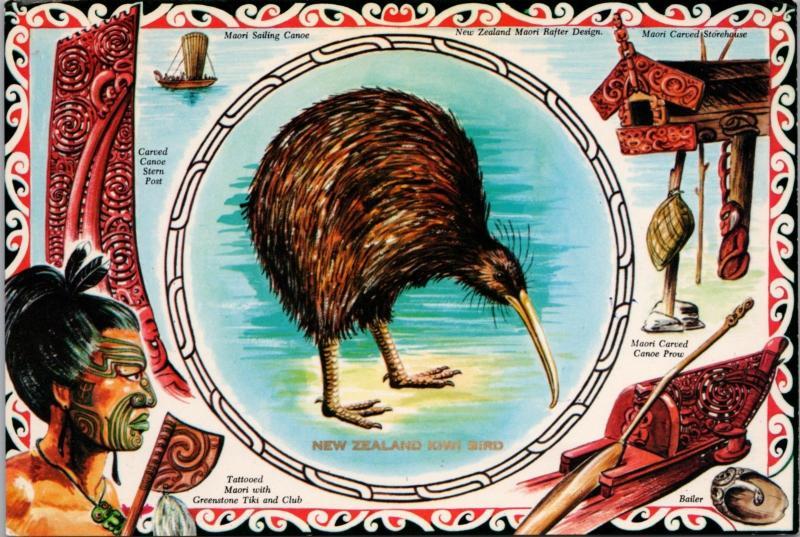 Kiwi Bird New Zealand NZ Tattooed Maori Canoe Multiview Vintage Postcard D46