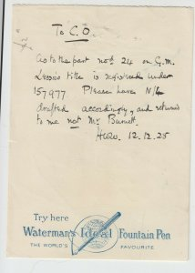 Ephemera, Watermans Ideal Fountain Pen Promotional Writing Paper, Dated 1928