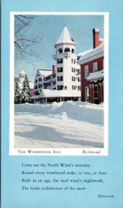 postcard VT - The Woodstock Inn with Emerson poem