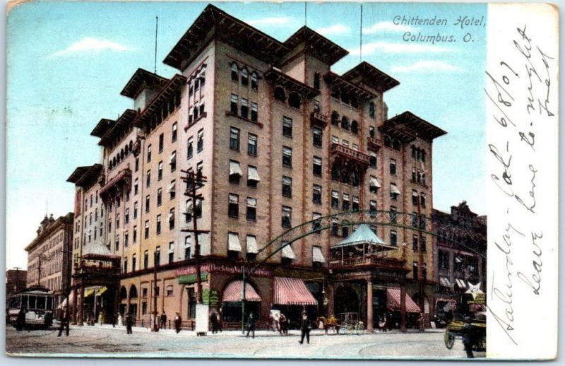 Columbus, Ohio Postcard CHITTENDEN HOTEL Street View w/ 1907 OH Cancel