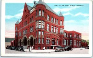 Fort Worth, Texas Postcard POST OFFICE Street View Kropp c1930s Unused