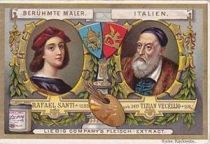 Liebig Vintage Trade Card S489 Famous Painters 1896 Rafael Sanit & Tizian Vec...