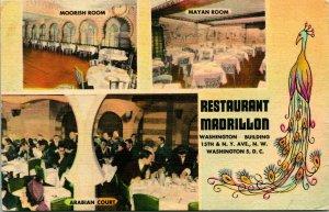 Vtg Linen Postcard - Restaurant Madrillon Washington DC Multi View w Peacock