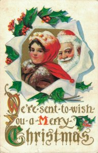 Merry Christmas Vintage Santa Claus Best Vintage Postcard With Mrs Claus 03.09