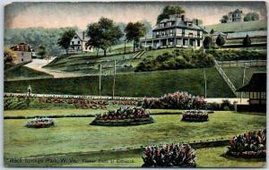 Rock Springs Park, West Virginia Postcard Flower Beds at Entrance 1910s Unused