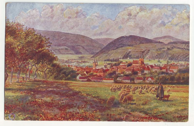 P950 old art card artist signed amorbach im odenwald germany w/german stamp