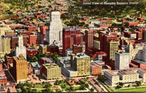 Tennessee Memphis Business District Aerial View Curteich