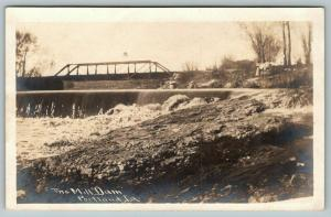 Portland Iowa~Mill Dam Below Pony Through Truss Bridge~c1912 RPPC