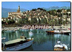 Modern Postcard The French Riviera Alpes Maritimes Menton Vieux Port St. Mich...