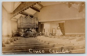 RPPC Congo* Church~Pipe Organ~Long Pews~Side Room~F Zitske Apples~RPPC c1910