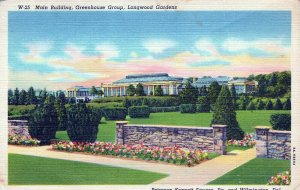 Greenhouse Group Longwood Gardens Wilmington DL Posted Vintage Linen Post Card