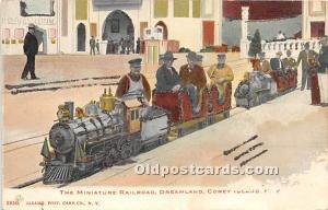 The Miniature Railroad, Dreamland Coney Island, NY, USA Amusement Park Unused...