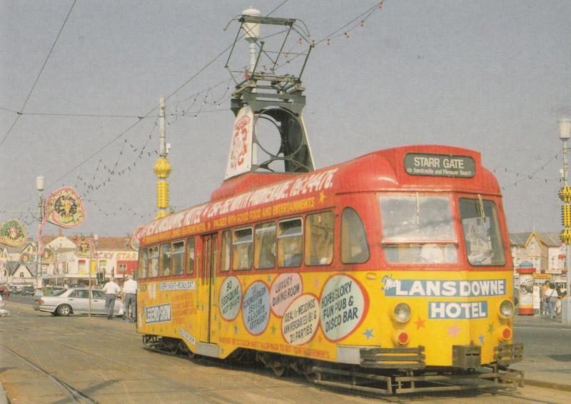 Brush Railcoach 634 Pleasure Beach Lansdowne Hotel Tram Bus Blackpool Postcard