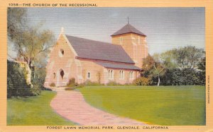 Movie Star, Actor Home Post Card The Church of the Recessional Forest Lawn Me...