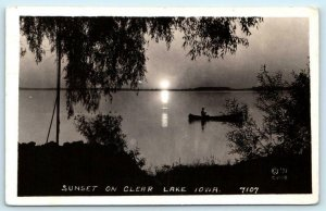 RPPC  CLEAR LAKE, Iowa IA ~ Canoe SUNSET SCENE 1937 Cerro Gordo County  Postcard