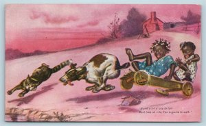 Postcard Black Americana Boys Jocular Jinks of Kornelia Kinks Dog Wagon 1907 T7
