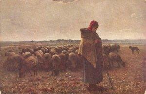 Millet. The Shepherdess Fine painting, old vintage German PC