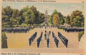 Maryland Annapolis Noon Formation Regiment Of Midshipmen U S Naval Academy 1941