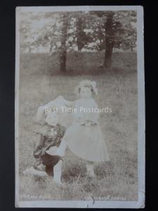 2 Children in Fancy Dress TINY & MITE c1906 Old RP Postcard by The Steven Series