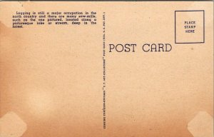 VTG Postcard Logs Ready For The Mill Northwoods Michigan Linen Unposted 154