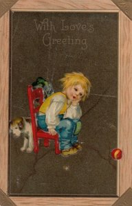 With Love's Greeting, 1900-10s; Boy sitting in red chair, dog behind chair